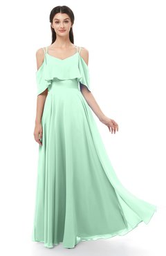 ColsBM Jamie Honeydew Bridesmaid Dresses Floor Length Pleated V-neck Half Backless A-line Modern