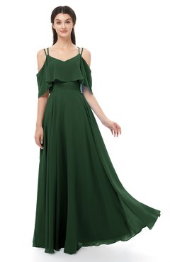 ColsBM Jamie Hunter Green Bridesmaid Dresses Floor Length Pleated V-neck Half Backless A-line Modern