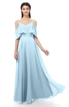 ColsBM Jamie Ice Blue Bridesmaid Dresses Floor Length Pleated V-neck Half Backless A-line Modern