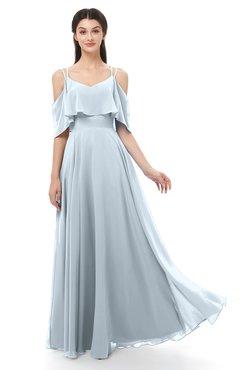 ColsBM Jamie Illusion Blue Bridesmaid Dresses Floor Length Pleated V-neck Half Backless A-line Modern