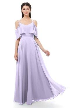 ColsBM Jamie Light Purple Bridesmaid Dresses Floor Length Pleated V-neck Half Backless A-line Modern