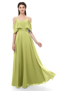 ColsBM Jamie Linden Green Bridesmaid Dresses Floor Length Pleated V-neck Half Backless A-line Modern
