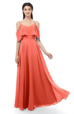 ColsBM Jamie Living Coral Bridesmaid Dresses Floor Length Pleated V-neck Half Backless A-line Modern