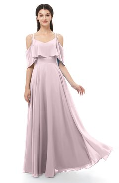 ColsBM Jamie Pale Lilac Bridesmaid Dresses Floor Length Pleated V-neck Half Backless A-line Modern
