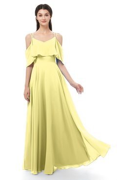 ColsBM Jamie Pastel Yellow Bridesmaid Dresses Floor Length Pleated V-neck Half Backless A-line Modern