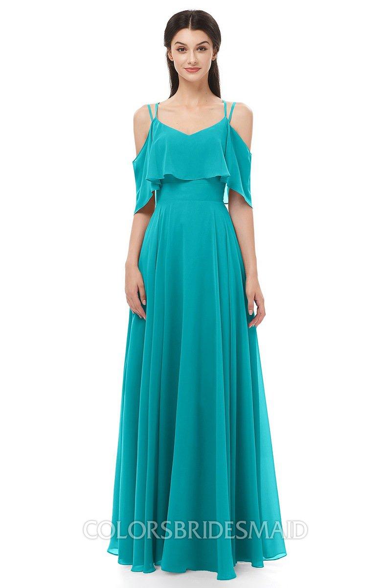 8448cfccba2 ColsBM Jamie Peacock Blue Bridesmaid Dresses Floor Length Pleated V-neck  Half Backless A-