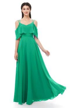 ColsBM Jamie Pepper Green Bridesmaid Dresses Floor Length Pleated V-neck Half Backless A-line Modern