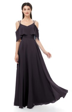 ColsBM Jamie Perfect Plum Bridesmaid Dresses Floor Length Pleated V-neck Half Backless A-line Modern