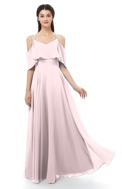 ColsBM Jamie Petal Pink Bridesmaid Dresses Floor Length Pleated V-neck Half Backless A-line Modern