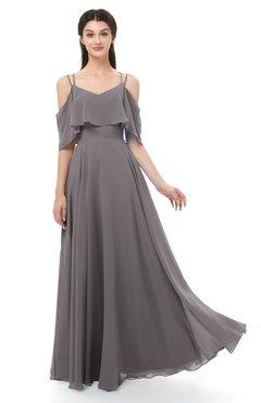 ColsBM Jamie Ridge Grey Bridesmaid Dresses Floor Length Pleated V-neck Half Backless A-line Modern
