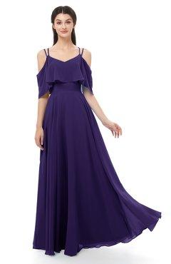 ColsBM Jamie Royal Purple Bridesmaid Dresses Floor Length Pleated V-neck Half Backless A-line Modern