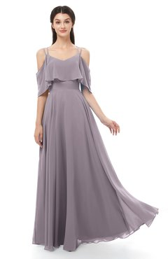 ColsBM Jamie Sea Fog Bridesmaid Dresses Floor Length Pleated V-neck Half Backless A-line Modern
