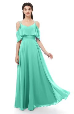 ColsBM Jamie Seafoam Green Bridesmaid Dresses Floor Length Pleated V-neck Half Backless A-line Modern