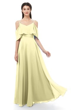 ColsBM Jamie Soft Yellow Bridesmaid Dresses Floor Length Pleated V-neck Half Backless A-line Modern