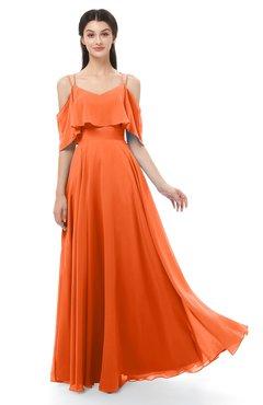 ColsBM Jamie Tangerine Bridesmaid Dresses Floor Length Pleated V-neck Half Backless A-line Modern