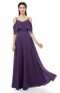 ColsBM Jamie Violet Bridesmaid Dresses Floor Length Pleated V-neck Half Backless A-line Modern