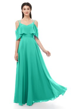 ColsBM Jamie Viridian Green Bridesmaid Dresses Floor Length Pleated V-neck Half Backless A-line Modern