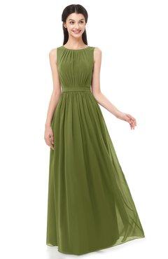 b225c4bda38 ColsBM Briar Olive Green Bridesmaid Dresses Sleeveless A-line Pleated Floor  Length Elegant Bateau