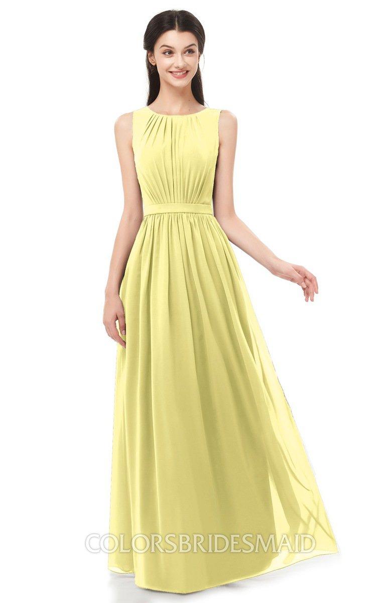 7f8def9b1c ColsBM Briar Pastel Yellow Bridesmaid Dresses Sleeveless A-line Pleated Floor  Length Elegant Bateau