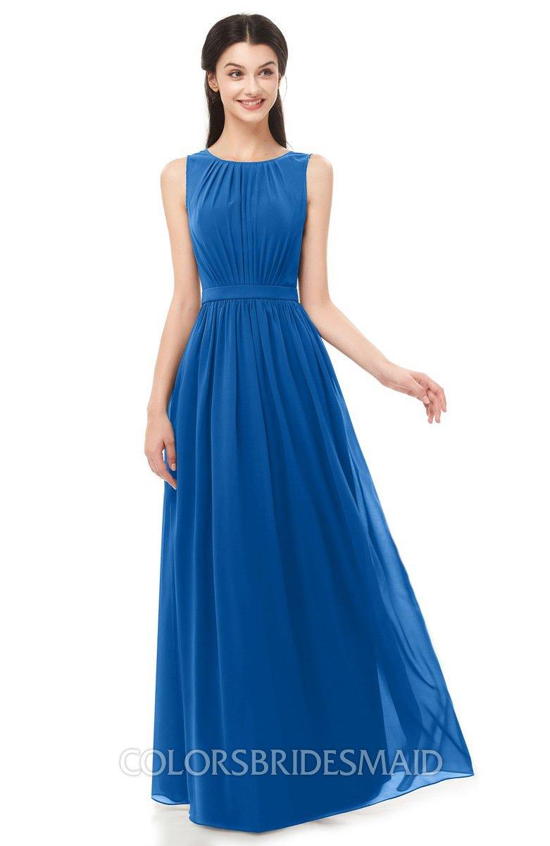 91e149aef2e ColsBM Briar Royal Blue Bridesmaid Dresses Sleeveless A-line Pleated Floor  Length Elegant Bateau