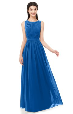 ColsBM Briar Royal Blue Bridesmaid Dresses Sleeveless A-line Pleated Floor Length Elegant Bateau