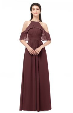 ColsBM Andi Burgundy Bridesmaid Dresses Zipper Off The Shoulder Elegant Floor Length Sash A-line