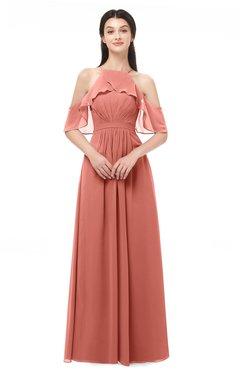 ColsBM Andi Crabapple Bridesmaid Dresses Zipper Off The Shoulder Elegant Floor Length Sash A-line