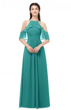 ColsBM Andi Emerald Green Bridesmaid Dresses Zipper Off The Shoulder Elegant Floor Length Sash A-line