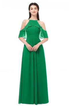 ColsBM Andi Green Bridesmaid Dresses Zipper Off The Shoulder Elegant Floor Length Sash A-line