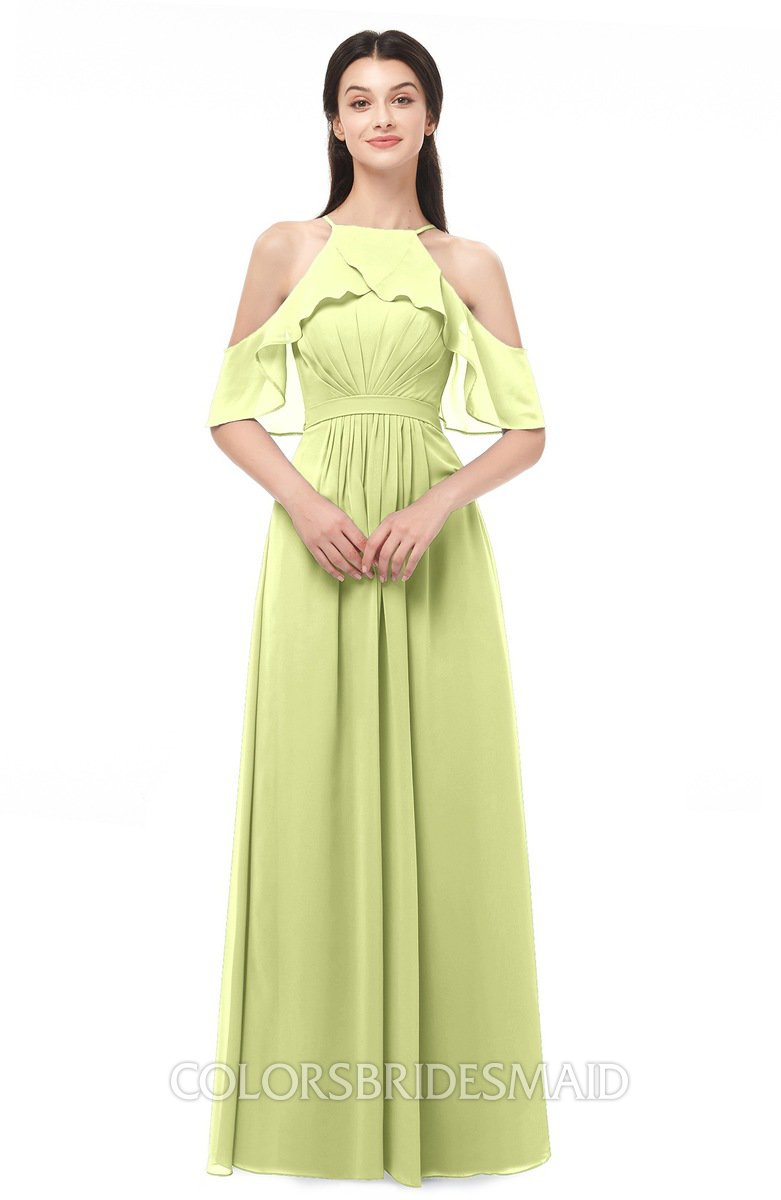 3482b438dff4 ColsBM Andi. Lime Green Bridesmaid Dresses Zipper Off The Shoulder Elegant  Floor Length Sash A-line