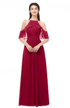 ColsBM Andi Maroon Bridesmaid Dresses Zipper Off The Shoulder Elegant Floor Length Sash A-line