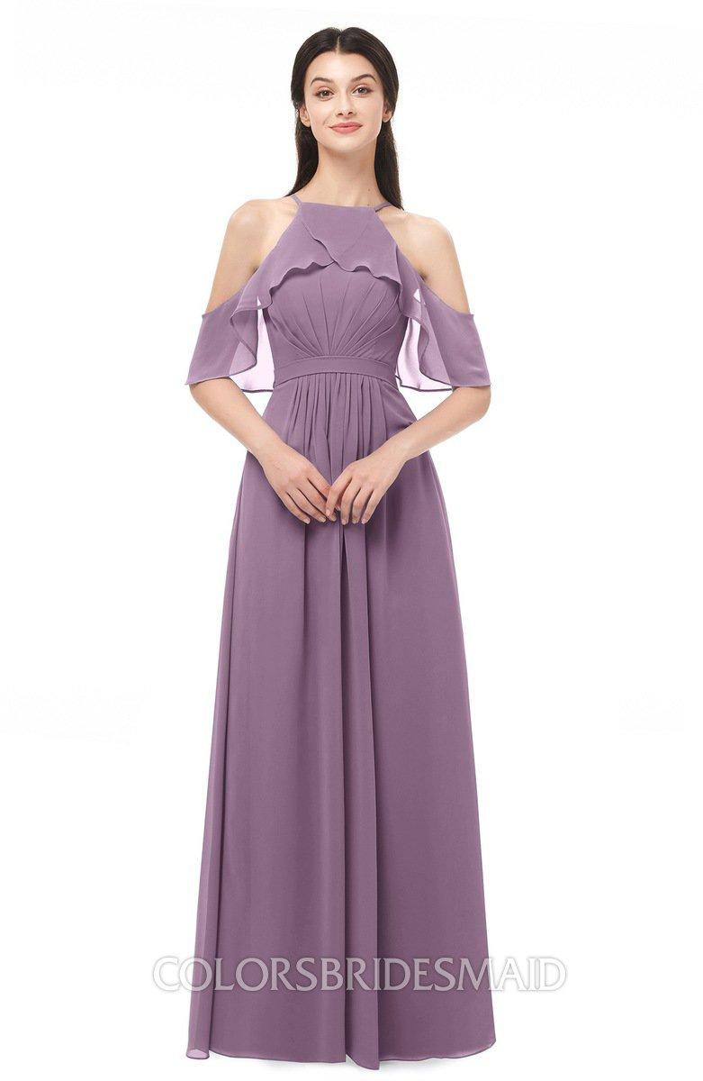 f6eac67a22f ColsBM Andi Mauve Bridesmaid Dresses Zipper Off The Shoulder Elegant Floor  Length Sash A-line