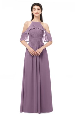 ColsBM Andi Mauve Bridesmaid Dresses Zipper Off The Shoulder Elegant Floor Length Sash A-line