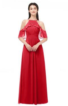 ColsBM Andi Red Bridesmaid Dresses Zipper Off The Shoulder Elegant Floor Length Sash A-line
