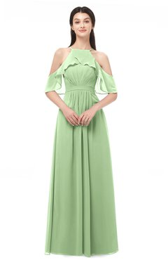 ColsBM Andi Sage Green Bridesmaid Dresses Zipper Off The Shoulder Elegant Floor Length Sash A-line