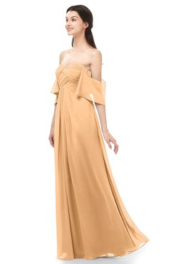 ColsBM Arden Apricot Bridesmaid Dresses Ruching Floor Length A-line Off The Shoulder Backless Cute