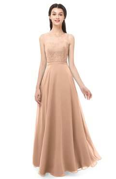 f4aa2b914205 ColsBM Indigo Almost Apricot Bridesmaid Dresses Sleeveless Bateau Lace  Simple Floor Length Half Backless