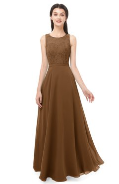 ColsBM Indigo Brown Bridesmaid Dresses Sleeveless Bateau Lace Simple Floor Length Half Backless