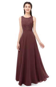 ColsBM Indigo Burgundy Bridesmaid Dresses Sleeveless Bateau Lace Simple Floor Length Half Backless