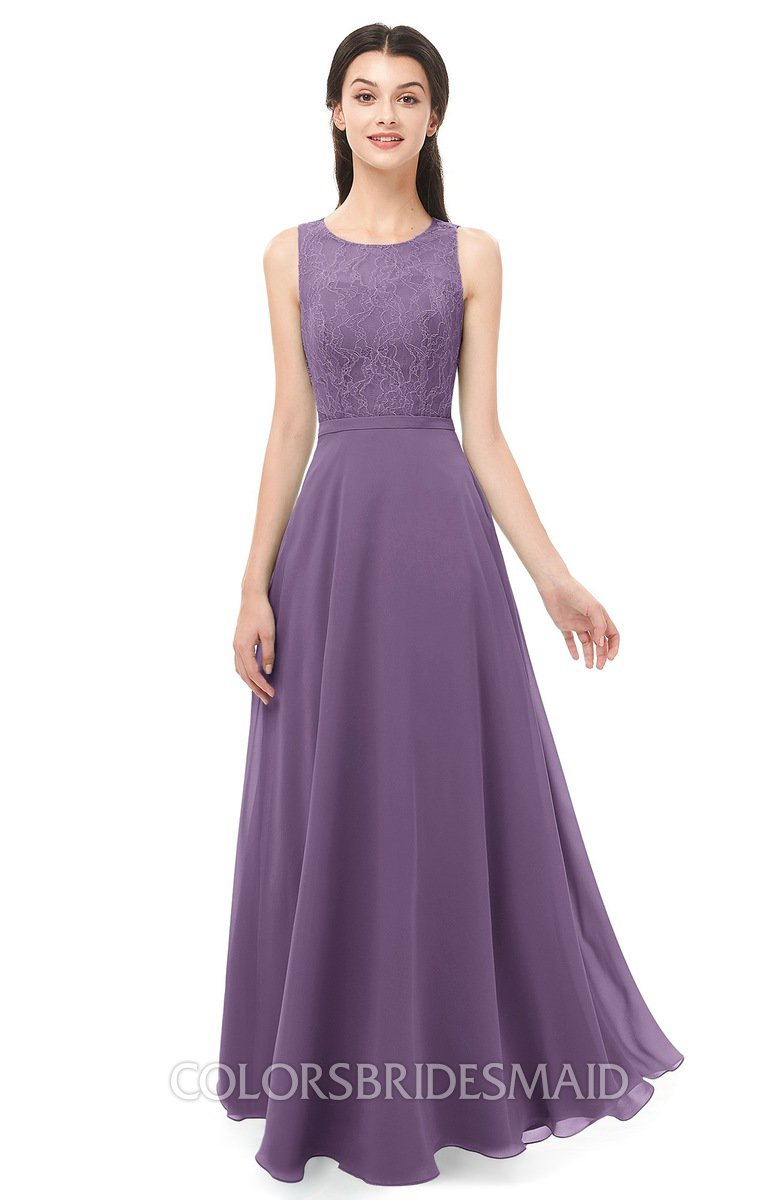 Colsbm Indigo Chinese Violet Bridesmaid Dresses Sleeveless Bateau Lace Simple Floor Length Half Backless