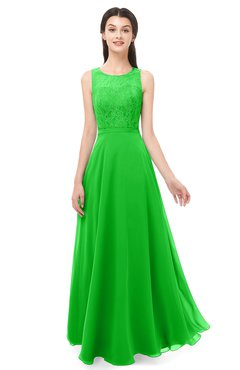 ColsBM Indigo Classic Green Bridesmaid Dresses Sleeveless Bateau Lace Simple Floor Length Half Backless