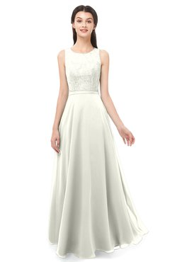 ColsBM Indigo Cream Bridesmaid Dresses Sleeveless Bateau Lace Simple Floor Length Half Backless