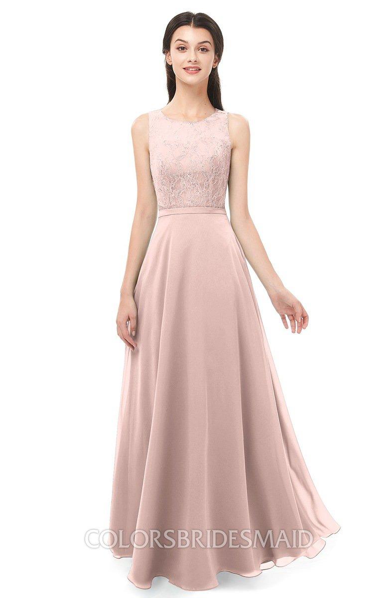 206fa22800f1 ColsBM Indigo Dusty Rose Bridesmaid Dresses Sleeveless Bateau Lace Simple  Floor Length Half Backless