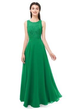 ColsBM Indigo Green Bridesmaid Dresses Sleeveless Bateau Lace Simple Floor Length Half Backless