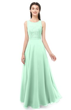 ColsBM Indigo Honeydew Bridesmaid Dresses Sleeveless Bateau Lace Simple Floor Length Half Backless