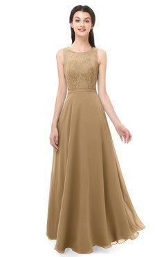 db83b89653c6 ColsBM Indigo Indian Tan Bridesmaid Dresses Sleeveless Bateau Lace Simple  Floor Length Half Backless