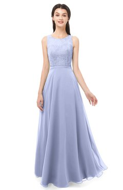 ColsBM Indigo Lavender Bridesmaid Dresses Sleeveless Bateau Lace Simple Floor Length Half Backless