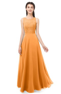 ColsBM Indigo Orange Bridesmaid Dresses Sleeveless Bateau Lace Simple Floor Length Half Backless