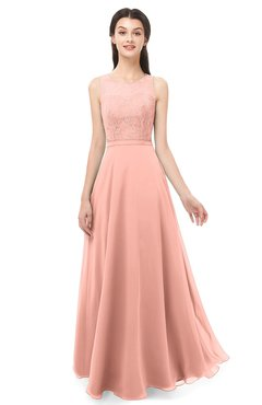 ColsBM Indigo Peach Bridesmaid Dresses Sleeveless Bateau Lace Simple Floor Length Half Backless