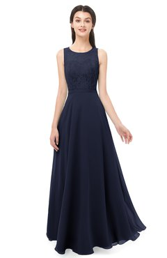 ColsBM Indigo Peacoat Bridesmaid Dresses Sleeveless Bateau Lace Simple Floor Length Half Backless
